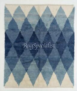 Contemporary Wool Rug with Interlocking Blue Diamonds