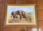 Vtg Oil Painting Elephant Tsavo National Park Africa Elephants Harold W. Clark