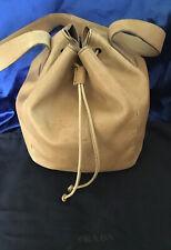 PRADA Secchiello Borsa Bag Sac In Pelle Beige Con Dust Bag Usata Originale