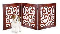 Safety Pet Gate for Dogs Free-Standing Folding Decorative Wooden Fence Barrier