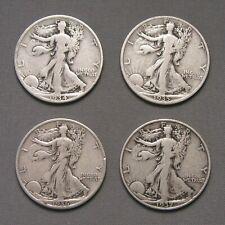 1934, 1935, 1936, 1937 Liberty Walking Half Dollar 50 Cent - Set of 4 coins [94]
