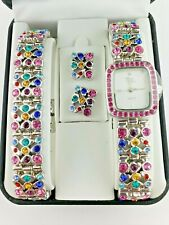 Suzanne Somers HSN Multicolor Crystal Watch, Bracelet, Earring Set New Battery!