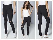 Para Mujeres/Niñas Jean ajustados de ser usted Rasgado Jeggings Pantalones Negro Talla 12 Reino Unido