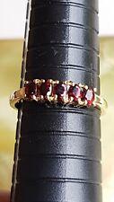 9ct Gold Garnet Ring - Five Stone Garnet Band Ring - Size Q 3/4