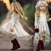 US Princess Kids Baby Girls Dress Velvet Party Pageant Wedding Gown Formal Dress