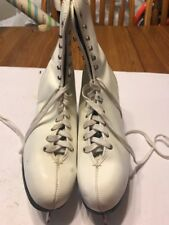 Vintage Women's Canadian Ice Figure Skates White Leather Size 10 Ships N 24h