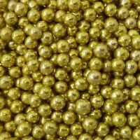 4mm Gold Edible Pearls Non Pareils Dragees Sugar Balls Cake Decorations 20g
