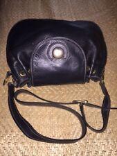 fine lladro, shoulder or crossbody,  black pebble leather, drawstring saddle bag