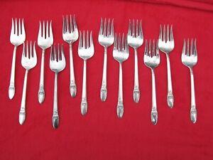 RARE Vtg Set of 12 1847 Rogers Bros FIRST LOVE Embossed Chip Beef/Dessert Forks