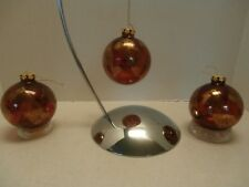 Set of 3 Round Crackle Gold strips Painted on Red Clear Glass Christmas Ornament