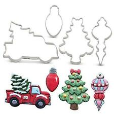 Christmas Cookie Cutter Set - 4 Piece - Pickup Truck with Christmas Tree,