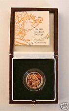 1999 QUEEN ELIZABETH II GOLD FULL PROOF SOVEREIGN with BOX & COA