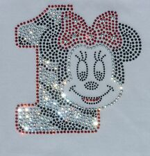 Minnie Mouse red ZEBRA 1st Birthday iron on rhinestone transfer applique patch