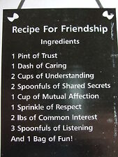 Slate Receipe For Friedship Rustic Hanging Plaque Shabby Chic Gift BNIB