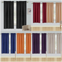 Innovate Two Tone Faux Silk Window Curtain Rod Pocket Solid Color MICROFIBER R64