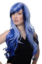 Peluca Cosplay Emo Azul Durchsträhnte Largo Haarpracht Ondulado Raya 2307