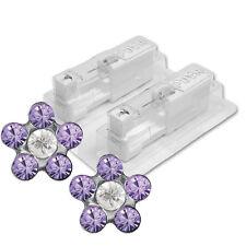 1 Paar STUDEX Medizinische Ohrstecker Blume Tanzanite-Crystal 5mm
