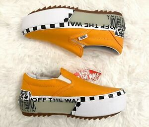 Woman Vans Classic Slip-On Stacked Bright Marigold White Size: 6