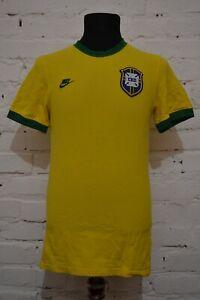 BRAZIL CBF RETRO STYLE FOOTBALL SHIRT JERSEY CAMISETA NIKE MENS S YELLOW