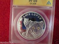 Belarus Wolf Wolves Canis Lupis Swarovski 999 Silver NGC PCGS ICG ANACS PF69 COA