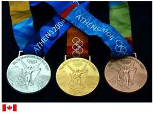 2004 Athens Olympic Medals Set with Silk Ribbons & Display Stands !!!