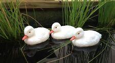 3 Entenküken weiss - Tierfigur Teichfiguren schwimmend aus Kunststoff Küken Ente
