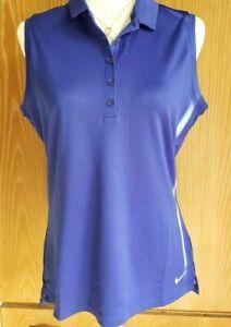 Nike Golf DRI FIT Sleeveless Collared Shirt Blue Size L NEW $70 Retail