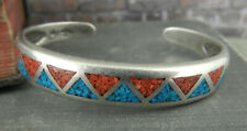 Turquoise & Coral Cuff Bracelet Carolyn Pollack 925 Sterling Inlaid Crushed