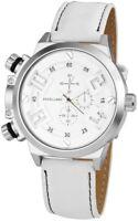 Excellanc Herrenuhr Weiß Silber Chrono-Look Kunstleder Armbanduhr X295122100004