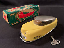 Vintage 1950s Timely Toys St. Louis MO Yellow Wind Up TURNABOUT Car W/Box & Key!