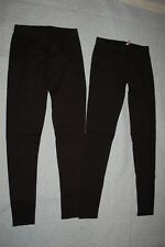 Junior Womens 2 PAIR LOT SOLID BLACK LEGGINGS Ankle Length KNIT Size Med 7-9