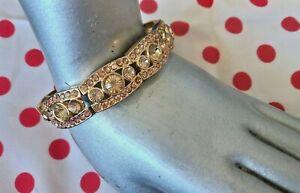 VINTAGE DIAMANTE 70/80s Bracelet Gold Tone PRINCESS BLING Sparkle Elasticated.