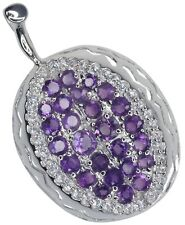 Amethyst Gemstone Fruit Design Cute Sterling Silver Pendant + Chain