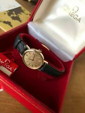 Lovely Solid Gold Omega Watch Beautiful Textured Dial , Cabochon Crown