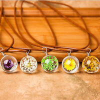 Fashion Natural Dried Flower Glass Drop Pendant Crystal Chain Necklace Jewellery