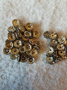 50 Mix gray crystal rondelle spacer beads great for jewellery making.