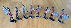 Early lead toy soldier marching band, 8 pieces, original, pre WW1, semi flat