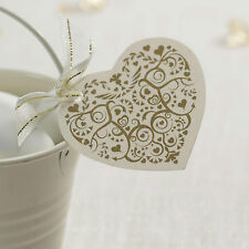 20 FAVOUR TAGS Vintage Romance HEART Ivory Gold NAPKIN CUTLERY Wedding