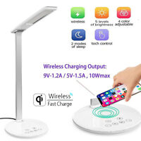 USB Charge LED Desk Lamp Table With QI Wireless Phone Charger Home Reading Light