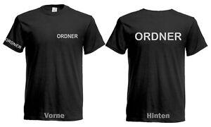 Ordner T-Shirt Sicherheitsdienst Brust Rücken Ärmeldruck Silber-reflektierend