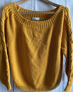 Hollister Sweater Large Cable Knit Gold Yellow Mustard