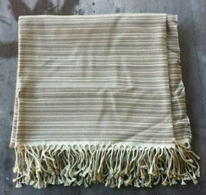 Yves Delorme Paris Taupe Striped Wool-Silk Blend Throw – New