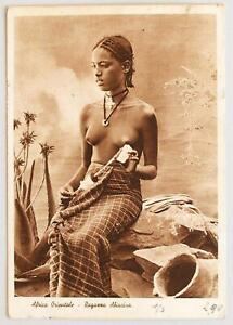 ETHIOPIA to Italy 1938 Eritrea Stamps on Naked Nativ Beauty Reg Pic PPC ADDIS to