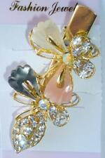 Butterfly Gray Pink Ivory Hair Alligator Clip Gold Crystal Rhinestone Barrette