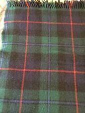 Vintage Scottish Highland Rug Throw 100% Pure Wool Plaid w/ Fringe - 59� x 55�