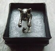Cat kitten ring silver tone vintage style steampunk