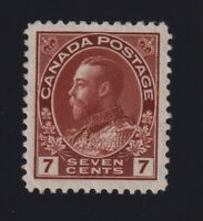 Canada Sc #114 (1911-25) 7c red brown Admiral Mint VF H