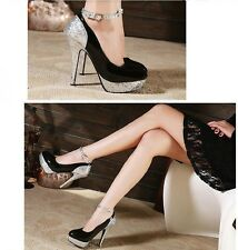 High heels , black-silver ,Princess ultra shallow mouth shoes