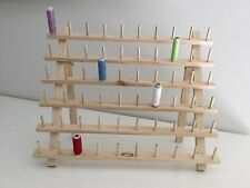 60 Spool Thread Rack Cotton Storage Stand Sewing Organiser Wooden Bobbin Holder