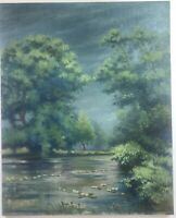Antique Original Oil Painting On Canvas Of Lanscape. Aged. Unsigned